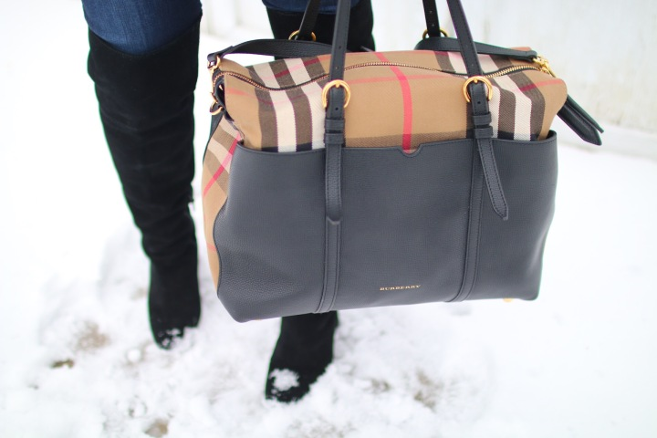 Burberry House Check & Leather Diaper Bag