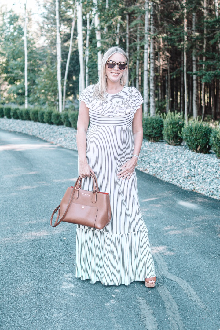 Striped Ruffled Trim MaternityMaxi