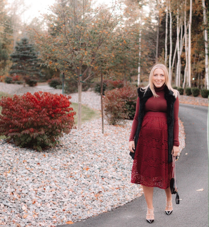 Burgundy Monochromatic Dressy Outfit (Non-Maternity!)